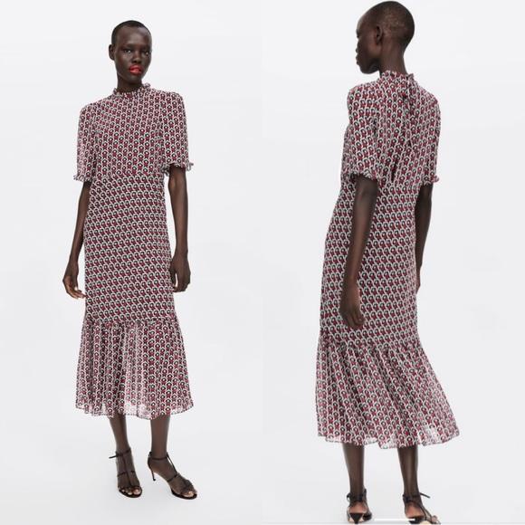 Zara Dresses & Skirts - Zara Heart Print Midi Dress